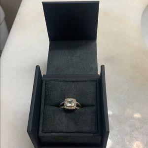 David Yurman Ring Size 7 White Topaz and Diamonds